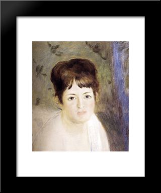 Head Of A Woman: Modern Black Framed Art Print by Pierre Auguste Renoir