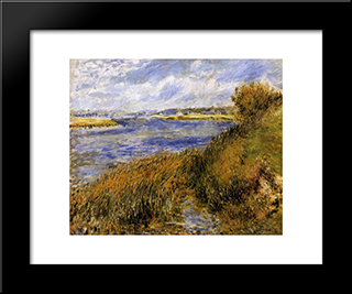 The Banks Of The Seine At Champrosay: Modern Black Framed Art Print by Pierre Auguste Renoir