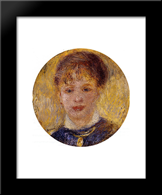 Woman`S Head: Modern Black Framed Art Print by Pierre Auguste Renoir