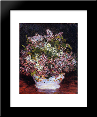 Bouquet Of Flowers: Modern Black Framed Art Print by Pierre Auguste Renoir