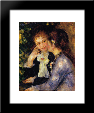 Confidences: Modern Black Framed Art Print by Pierre Auguste Renoir