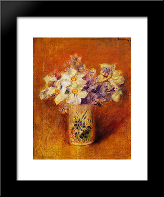 Flowers In A Vase: Modern Black Framed Art Print by Pierre Auguste Renoir