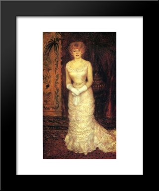 Jeanne Samary: Modern Black Framed Art Print by Pierre Auguste Renoir