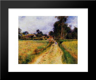 The Farm: Modern Black Framed Art Print by Pierre Auguste Renoir