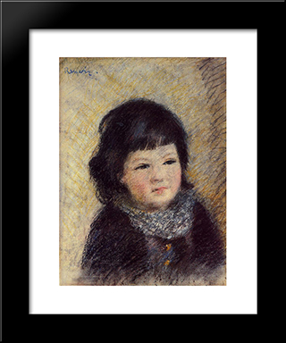 Portrait Of A Child: Modern Black Framed Art Print by Pierre Auguste Renoir