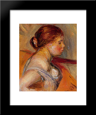 Head Of A Young Girl: Modern Black Framed Art Print by Pierre Auguste Renoir