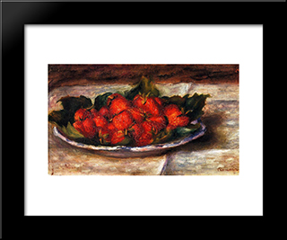 Still Life With Strawberries: Modern Black Framed Art Print by Pierre Auguste Renoir