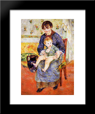 Mother And Child: Modern Black Framed Art Print by Pierre Auguste Renoir