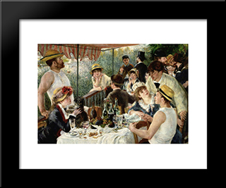 The Luncheon Of The Boating Party: Modern Black Framed Art Print by Pierre Auguste Renoir