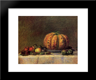 Still Life With Fruit: Modern Black Framed Art Print by Pierre Auguste Renoir