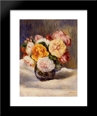 Bouquet Of Roses: Modern Black Framed Art Print by Pierre Auguste Renoir