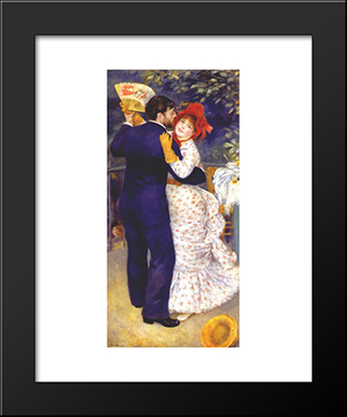 Dance In The Country: Modern Black Framed Art Print by Pierre Auguste Renoir