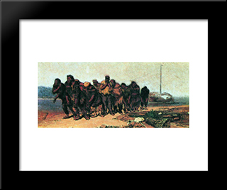 Barge Haulers On The Volga: Modern Black Framed Art Print by Ilya Repin
