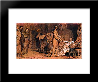 Raising Of Jairus Daughter: Modern Black Framed Art Print by Ilya Repin