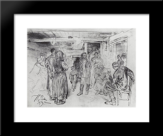 Putting A Propagandist Under Arrest: Modern Black Framed Art Print by Ilya Repin