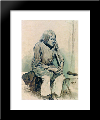 Hunchback: Modern Black Framed Art Print by Ilya Repin