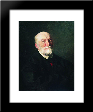 Portrait Of The Surgeon Nikolay Pirogov: Modern Black Framed Art Print by Ilya Repin