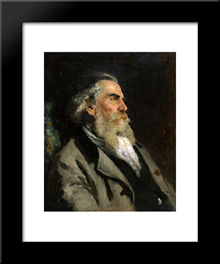 Portrait Of The Artist A. P. Bogolubov: Modern Black Framed Art Print by Ilya Repin