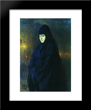 Nun: Modern Black Framed Art Print by Ilya Repin