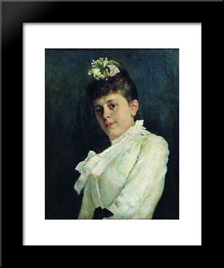 Portrait Of A Woman: Modern Black Framed Art Print by Ilya Repin