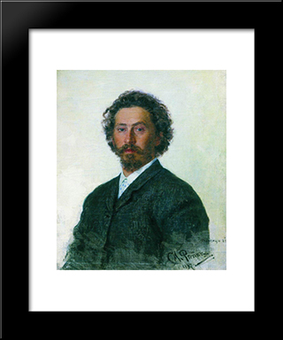 Self-Portrait: Modern Black Framed Art Print by Ilya Repin