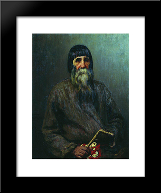 Portrait Of A Peasant: Modern Black Framed Art Print by Ilya Repin