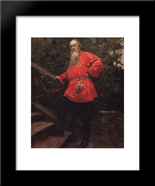 Portrait Of The Art Critic Vladimir Stasov: Modern Black Framed Art Print by Ilya Repin