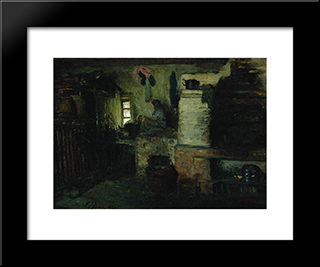 In The Hut: Modern Black Framed Art Print by Ilya Repin