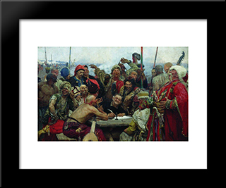The Reply Of The Zaporozhian Cossacks To Sultan Mahmoud Iv: Modern Black Framed Art Print by Ilya Repin