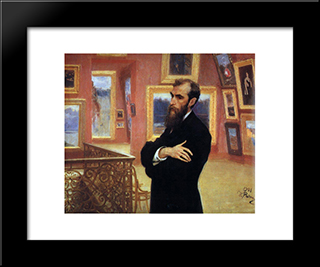 Portrait Of Pavel Tretyakov, Founder Of The Tretyakov Gallery: Modern Black Framed Art Print by Ilya Repin