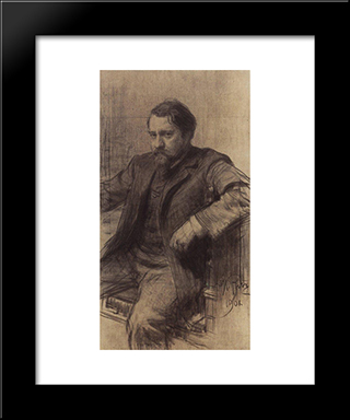 Portrait Of The Artist Valentin Serov: Modern Black Framed Art Print by Ilya Repin
