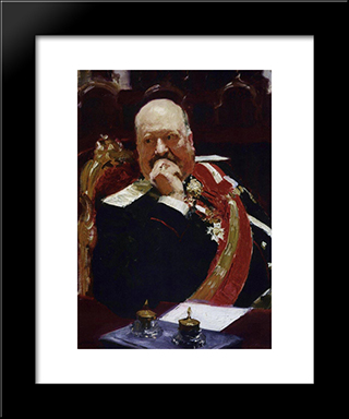 Portrait Of Vice Minister Of The Interior, Cavalry General And Member Of State Council, Count Aleksey Pavlovich Ignatiev (Study): Modern Black Framed Art Print by Ilya Repin