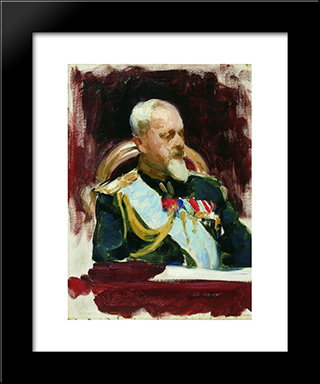 Sketch For The Painting Ceremonial Meeting Of The State Council On May 7, 1901: Modern Black Framed Art Print by Ilya Repin