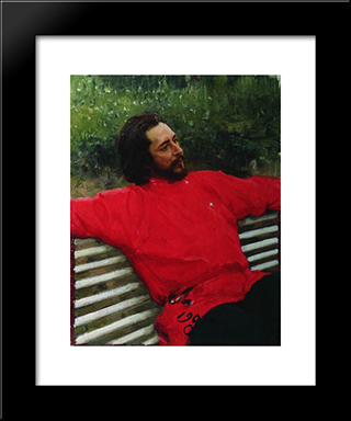 Portrait Of The Author Leonid Andreev: Modern Black Framed Art Print by Ilya Repin