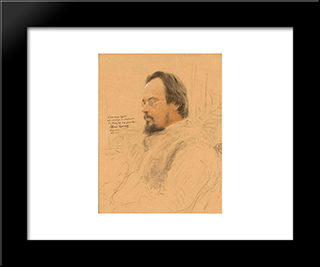 Portrait Of Writer Yevgeny Nikolayevich Chirikov: Modern Black Framed Art Print by Ilya Repin