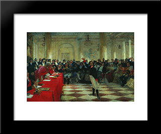 A. Pushkin On The Act In The Lyceum On Jan. 8, 1815: Modern Black Framed Art Print by Ilya Repin