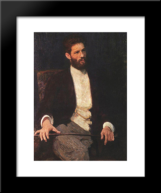 Portrait Of Sculptor Mark Matveevich Antokolski: Modern Black Framed Art Print by Ilya Repin