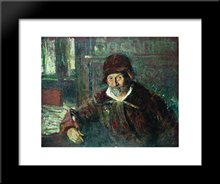 Self Portrait: Modern Black Framed Art Print by Ilya Repin