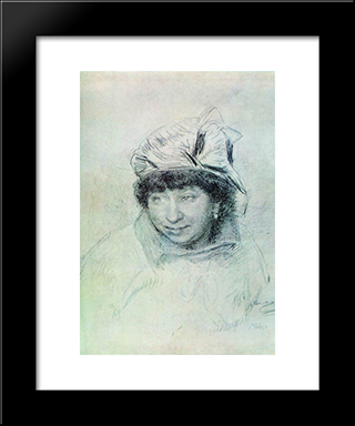 Portrait Of Vera Repina: Modern Black Framed Art Print by Ilya Repin