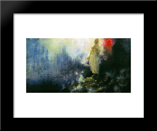 Follow Me, Satan: Modern Black Framed Art Print by Ilya Repin