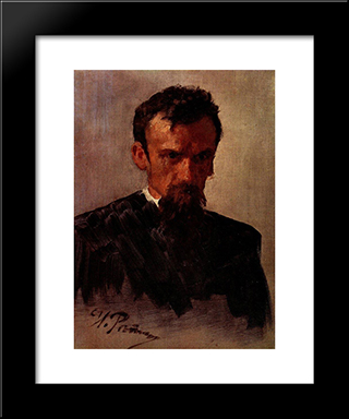 Head Of A Man: Modern Black Framed Art Print by Ilya Repin