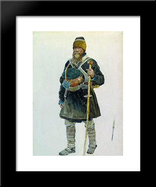 Pilgrim: Modern Black Framed Art Print by Ilya Repin