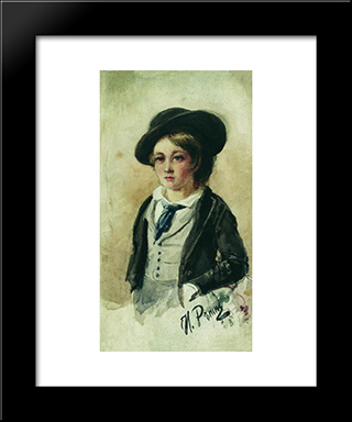 Portrait Of A Boy: Modern Black Framed Art Print by Ilya Repin