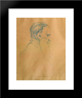 Portrait Of Leo Tolstoy: Modern Black Framed Art Print by Ilya Repin