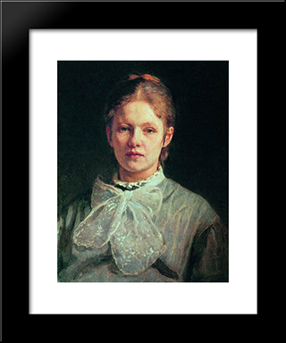 Portrait Of S.A. Repina: Modern Black Framed Art Print by Ilya Repin