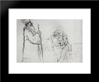 Refusal Of Confession: Modern Black Framed Art Print by Ilya Repin