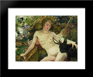 The Model: Modern Black Framed Art Print by Ilya Repin