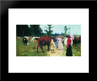 Young Ladys Walk Among Herd Of Cow: Modern Black Framed Art Print by Ilya Repin