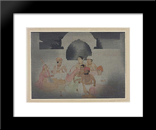 A Moonlight Music Party: Modern Black Framed Art Print by Abanindranath Tagore