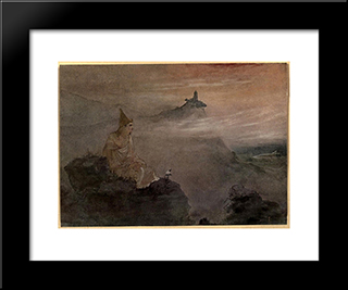 Asoka, Who By The White Stucco Of His Fame Made Spotless The Universe: Modern Black Framed Art Print by Abanindranath Tagore